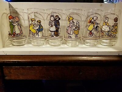Holly Hobbie Coca-Cola HAPPY TALK  Drinking Glasses SET OF 6 Different Glasses