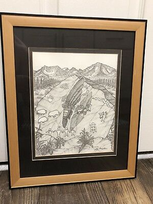 PAIUTE & WASHOE NATIVE AMERICAN PAUL STONE 96/111 LTD ED FRAMED ART MA 071618gH