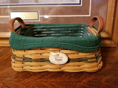 Longaberger 2002 Classic Christmas Tree Trimming Basket With Tie On, Green Liner