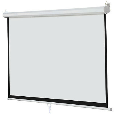 """Matte White 100"""" 16:9 Projection Projector Screen Home Movie Manual Pull Down"""