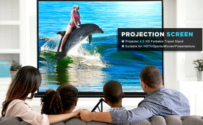 """100""""D Tripod Portable Projector Projection 4:3 Screen 82x66 Foldable Stand"""
