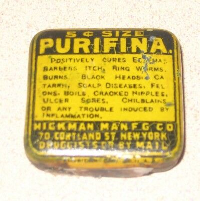 Purfina Medicine Tin Unusual EARLY Cure All Hickman Co NY Cures Weird Stuff