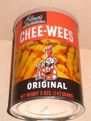 Chee Wees 1970s  Cheeto Like Snack Tin Elmer Candy Co New Orleans w Goofy Clown