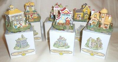 6 New in Box 1995 Buildings for The Bunny Family Village School, Lodge, Tea Room