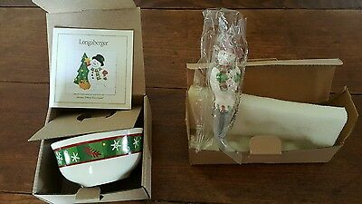 NEW Longaberger Pottery Bluster Snowman Holiday Bowl And Holiday Spreader