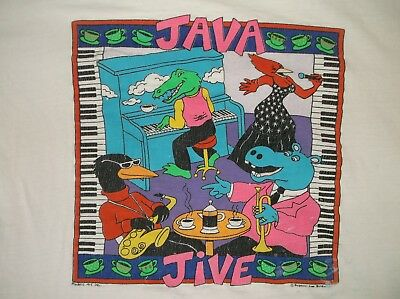 VTG 90's JAVA JIVE t-shirt XL ASIS Cotton white Coffee animals musicians Jungle