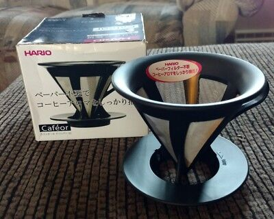 HARIO Two Cup Drip Coffee Maker Strainer Black CFOD-02 New Flawed Box Fast Ship