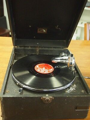 Vintage HMV His Masters Voice Portable Windup 78 rpm Gramophone / Record Player