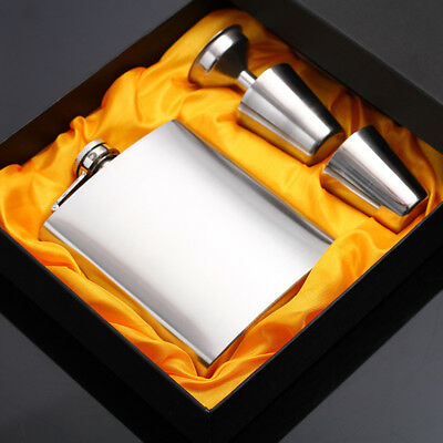 Hip Flask Flagon Stainless Steel Portable Wine Whiskey Pot Bottle Silver Color