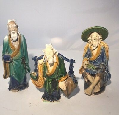 THREE Vintage Mud Pottery Asian Chinese Fisherman Figurines
