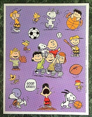 Vtg Hallmark PEANUTS sticker Sheet~SNOOPY~Sports~Baseball~Football~Basketball