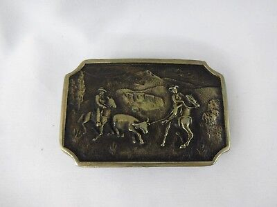 Cowboy Western Steer Roping Solid Brass Vintage Belt Buckle Bts Usa Made