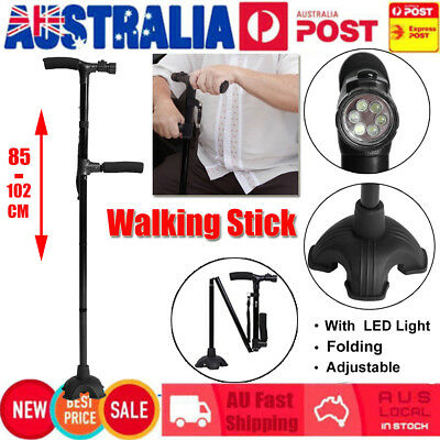 Adjustable Folding Metal Walking Stick Cane Folding With Light LED Strap Handle