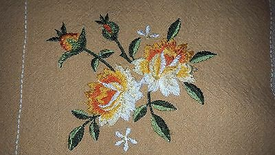 "Summer picnic floral embroidered cotton linen tablecloth 29"" x 31"" square vtg"