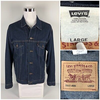 Levis Red Tab Mens Large Trucker Denim Jacket 70507 Vintage Rare