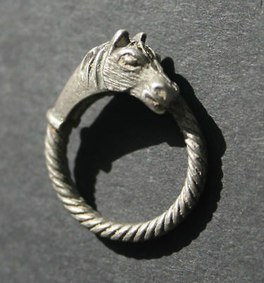 Antique Silver Ring***horse Head***intact