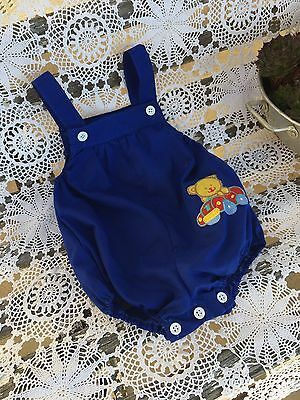 Vintage Baby Boys All In One Summer Jumpsuit Short Overalls Cotton Size 00 FREE