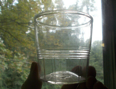 1830s EARLY FLINT GLASS PONTILED BLOWN FLIP OR WHISKEY GLASS RARE PANELED BASE