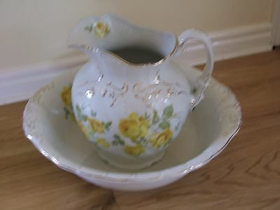 Very Large Antique Victorian Washbowl and Jug