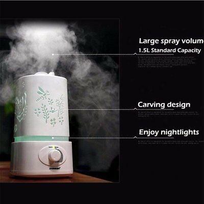 1.5L Ultrasonic Home Aroma Humidifier Air Diffuser Purifier Lonizer Atomizer~EGD