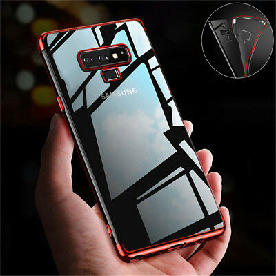 For Samsung Galaxy Note 9 8 S9 Plus S7 S6 Case Clear Slim Plating Soft TPU Cover