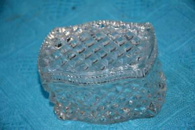 Vintage QUALITY CRYSTAL DRESSING TABLE Trinket Box. Rectangular/Round Art Deco.