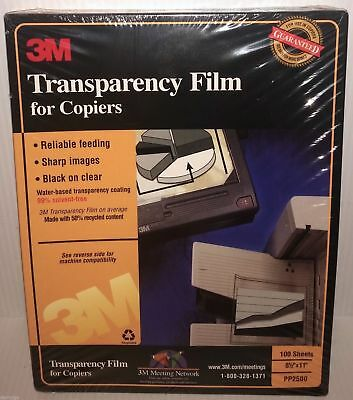 """3M PP2500 Transparency Film For Copiers  8 1/2"""" x 11"""" (100 SHEETS) NEW & SEALED!"""