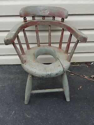 antique windsor chair early 1900 solid chair children's potty chair