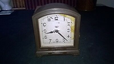 Vintage Smiths Electric Clock. Brown Bakelite Case Art-Deco Design.spares/repair
