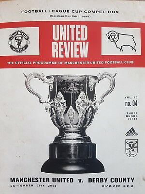 Manchester United v Derby County matchday programme League Cup