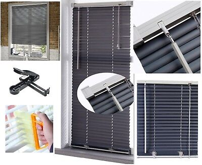 Pvc Grey Contrast Slate Window Venetian Blind TRIMMABLE Free Cutter Clean Brush