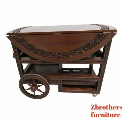 Vintage Quality Rosewood Chinese Chippendale Carved  Drop Leaf T Tea Cart Bar