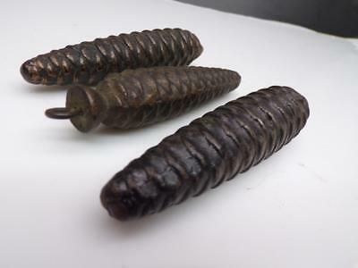 "Lot of 3 Vintage Cuckoo Clock Pine Cone Weights  4-5"" long E420b"