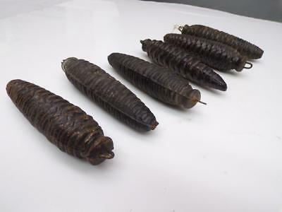 "Lot of 6 Vintage Cuckoo Clock Pine Cone Weights  4-5"" long E686"