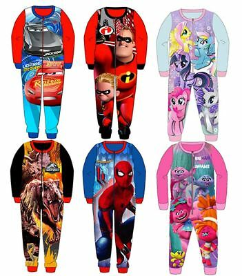 Kids Character All in One Piece Girls Boys Fleece Gift Pyjamas