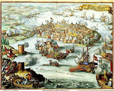 Antique View of Venetian Conquest of Nafplion Romania Greece Greek 2 Posters NEW