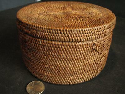 """Antique Woven Coil and Splint Basket w Hinged Lid Very Tight 5 3/4"""""""