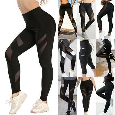 HOT Women's Gym Yoga Workout Leggings Push-Up High Waist Sports Sexy Mesh Pants