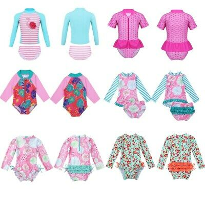 Kids Long Sleeves UPF 50+ Swimsuit Girls Rash Guard Swimwear Bathing Beachwear