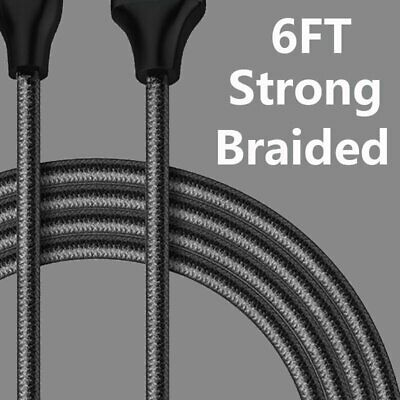 6Ft Braided Cable Heavy Duty For iPhone 6 7 8 plus XS Max Charger Charging Cord