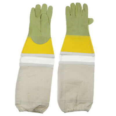 Premium Long Sleeves Beekeeping Protective Gloves Bee Soft Leather & Canvas