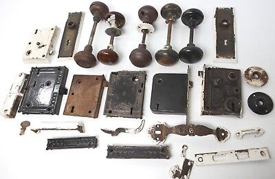 LOT of Vintage Antique Door Hardware Handle Closer Lock Knob Doorknob Plate