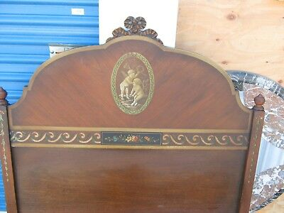 Charming Antique French Hand Painted Cupid Twin Headboard & Footboard and Rails