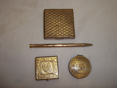 Lot Of Vintage Goldtone Compacts And Mascara Pencil