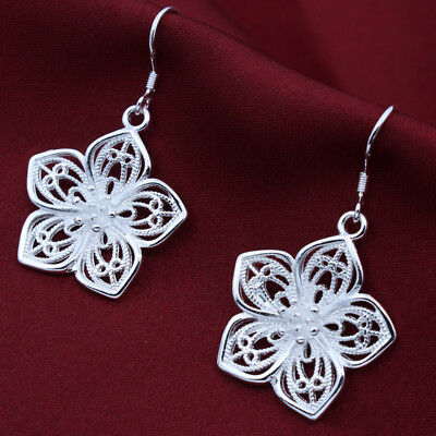 Vintage Silver Toned Hollow Out Flower Round Earrings For Women Lady D
