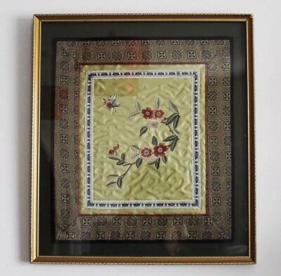Vintage Chinese Embroidery Needlework Silk Tapestry