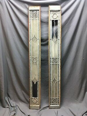 Pr Antique Leaded Glass Diamond Sash  Old Shabby Door Side Lights Vtg 131-18C