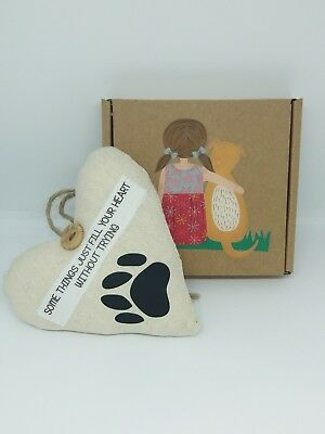 Dog Lover Fabric Heart Gift. Love Loss Memory Mans Best Friend Paw Print