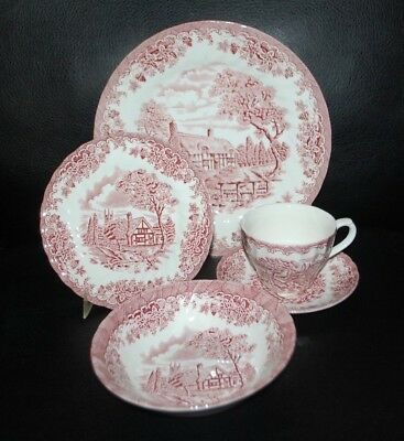 Churchill Red Willow Swirl 5pc Place Setting England NEW
