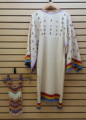 3 Band Wool Broadcloth Native American Indian Shell Dress And Beaded Breastplate